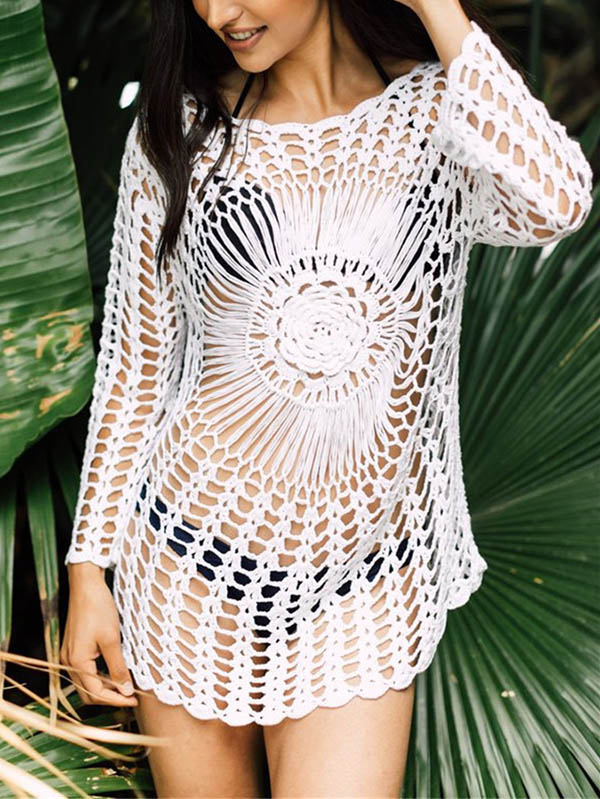 Sexy Hollow Crochet Beach Cover-ups Swimwear