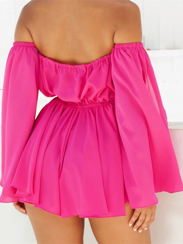Fashion Long Sleeves Off-the-shoulder 2 Colors Mini Dress