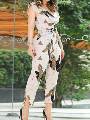 Fashion Printed Long Sleeve Jumpsuit