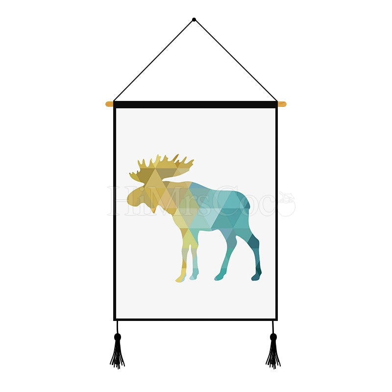Gradient Deer Pattern Geometric Printed Wall Hanging Decoration