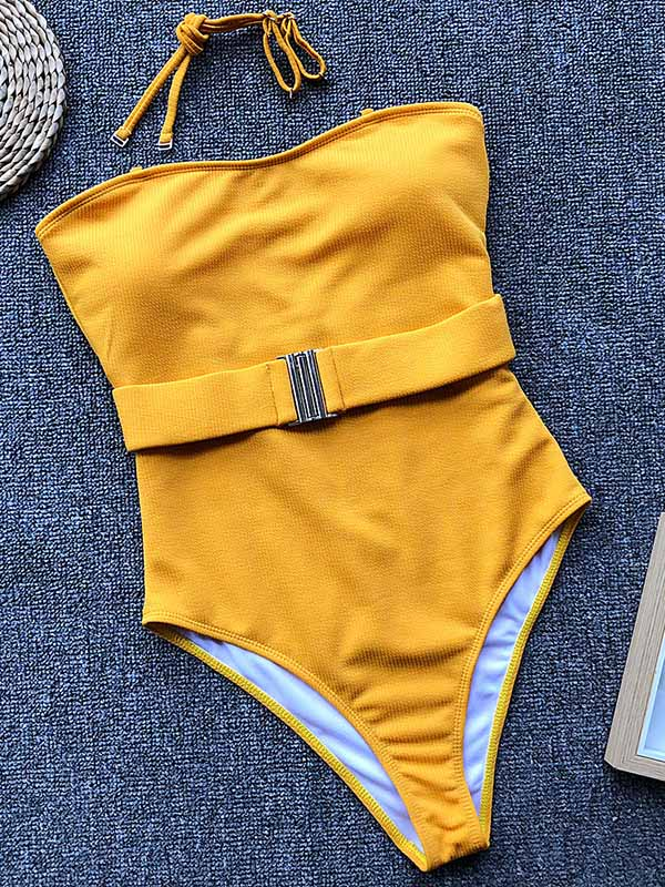 Sexy Pure Color One-piece Swimsuit