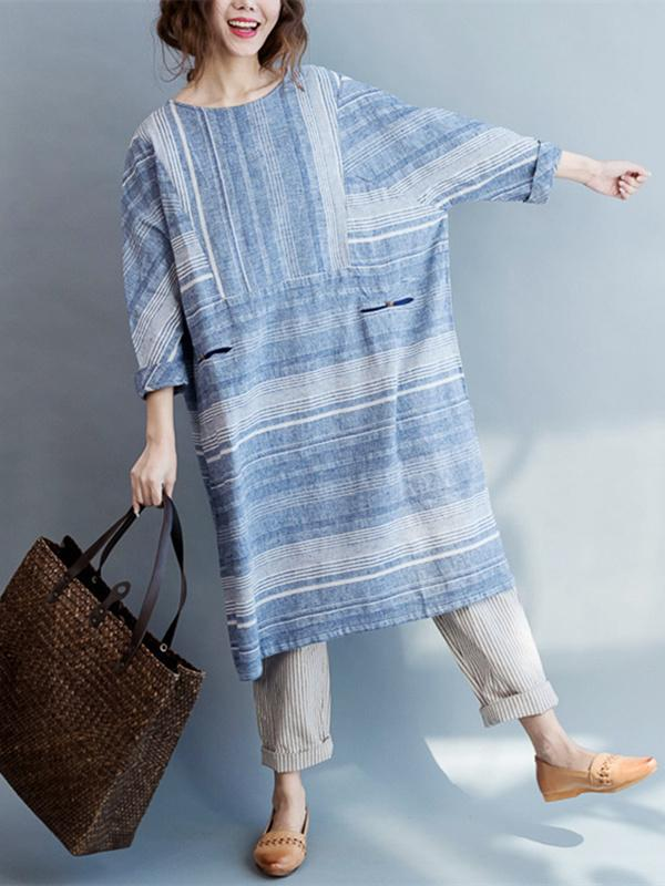 Blue Striped Linen Loose Long Dress