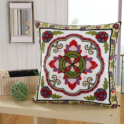 Embroidered Printed Square Pillow Case