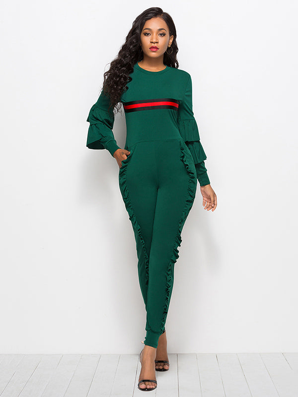 Striped Falbala With Pockets Sports Jumpsuit
