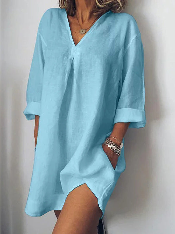 Loose Long Sleeves Simple Mini Dress