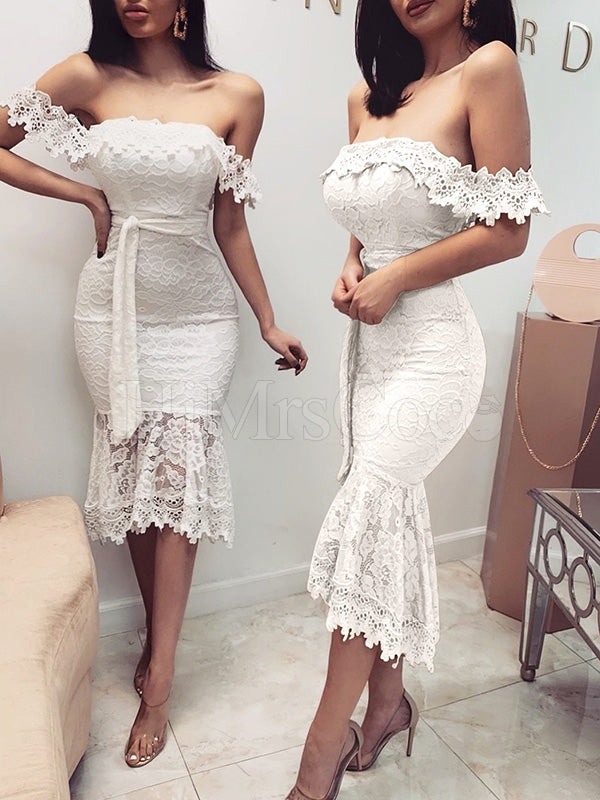 Sexy Lace Hip-package Midi Dress