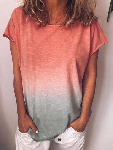 Simple 4 Colors T-Shirts Tops