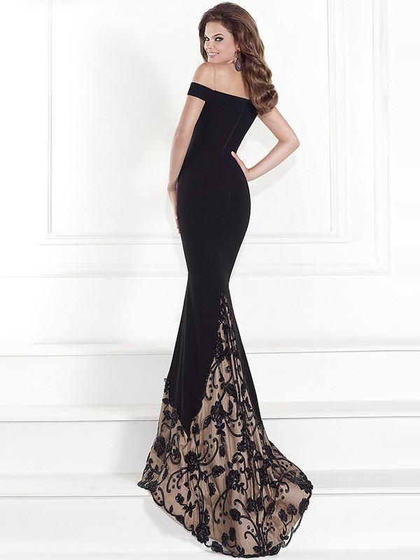 Lace Off-the-shoulder V-Neck Evening Dress
