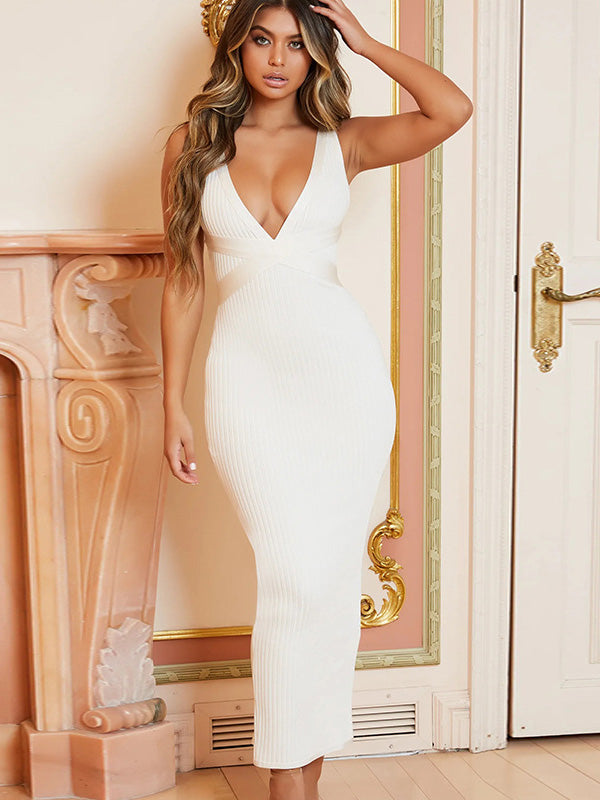 Sexy V-neck Backless Maxi Dress