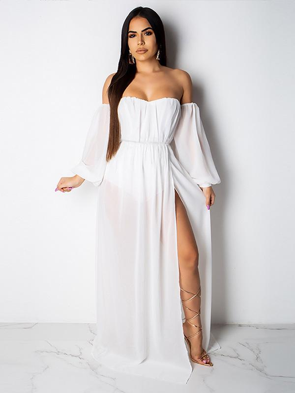 3 Colors Off-the-shoulder Bodycon Sexy Maxi Dress