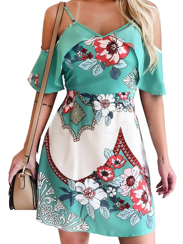 Floral Printed Flying Sleeve Mini Dress
