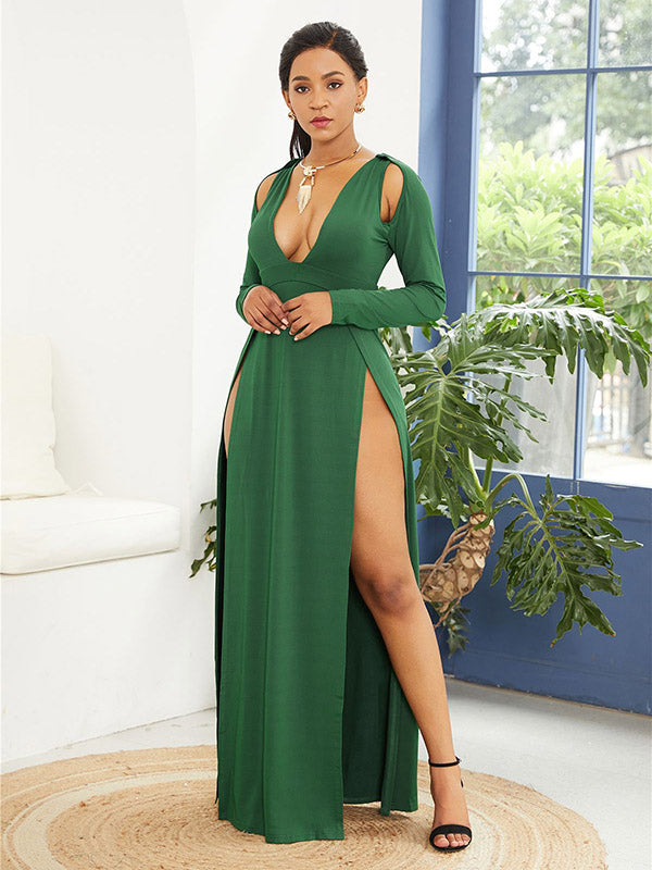 Cut Out Hollow Solid Maxi Dress