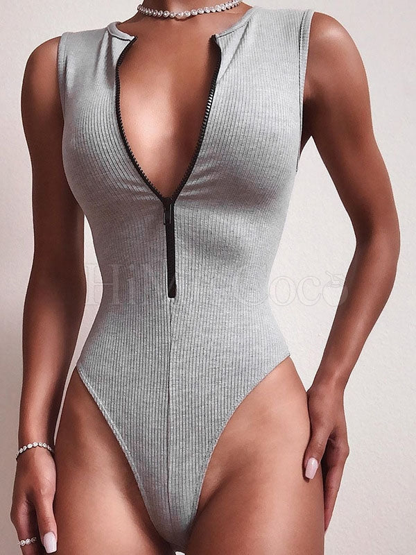 Sexy Zipper Sleeveless Bodysuit