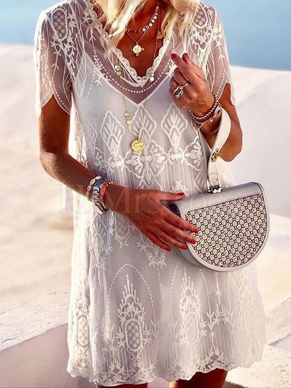 Without Vest Short Sleeve Lace Mini Dress