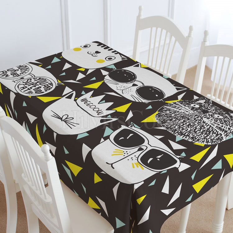 Black Cat Casual Printed Tablecloth