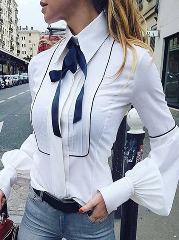 Fashion White Long Sleeves Blouses&shirts Tops