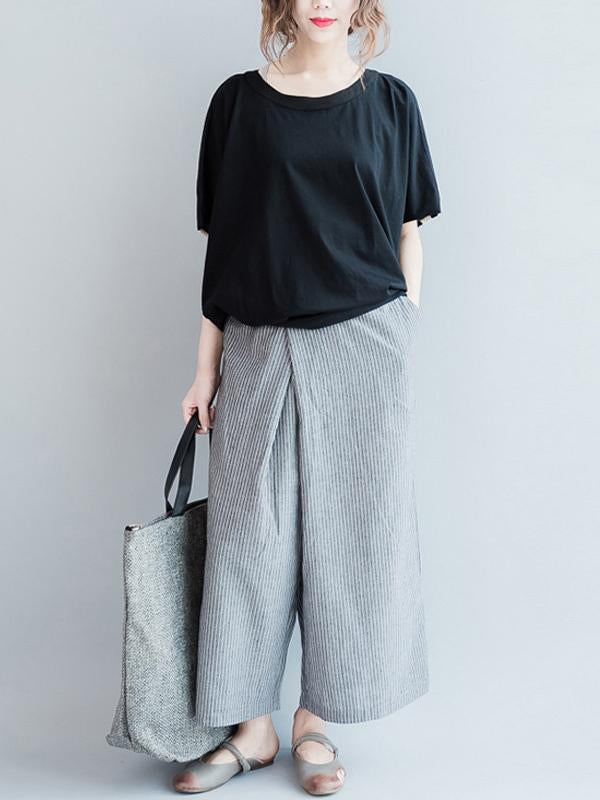 Loose Simple Gray Stripe Designed Pants