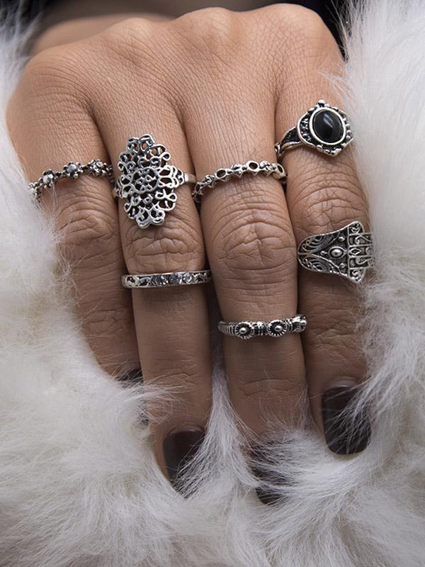 7PCS Vintage Imitated Crystal Rings Accessories