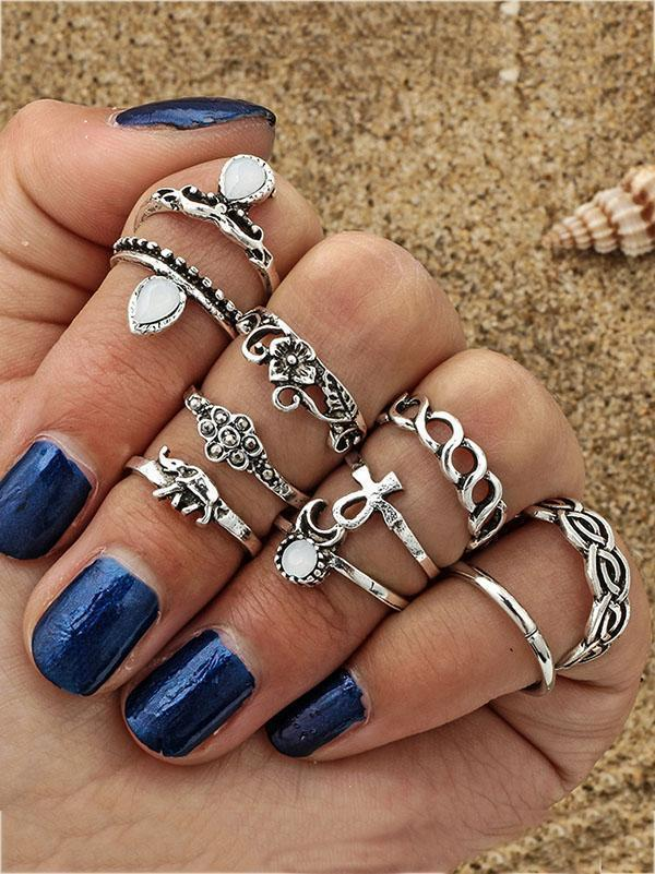 10pcs Vintage Moon Elephant Rings Accessories