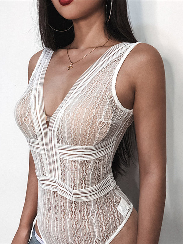 Sexy V-neck Lace Bodysuit
