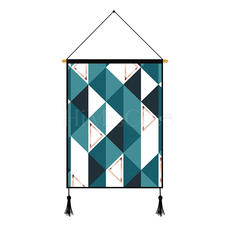 Blue Geometric Printed Wall Hanging Decoration