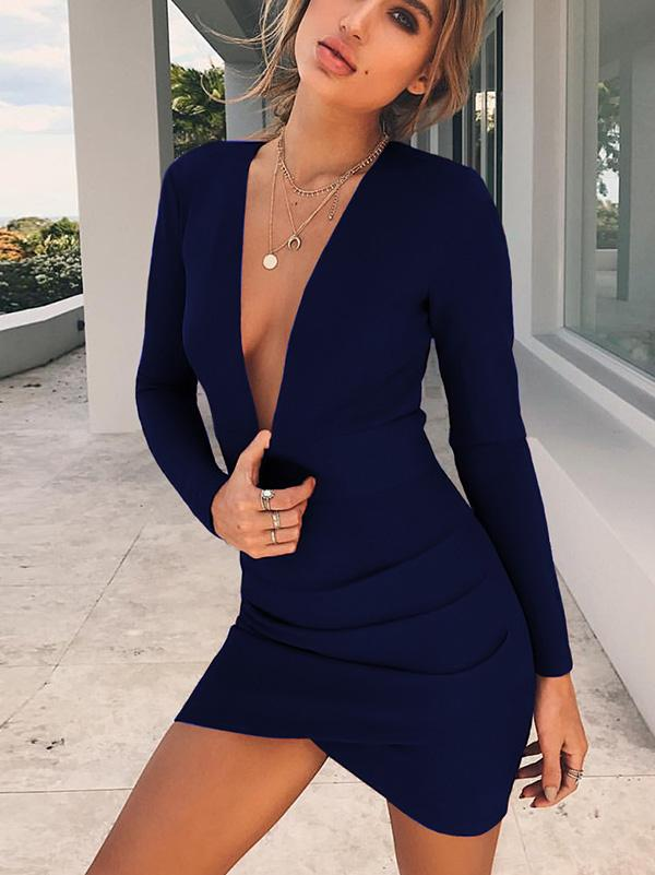 Sexy Long Sleeves V-neck Mini Dress
