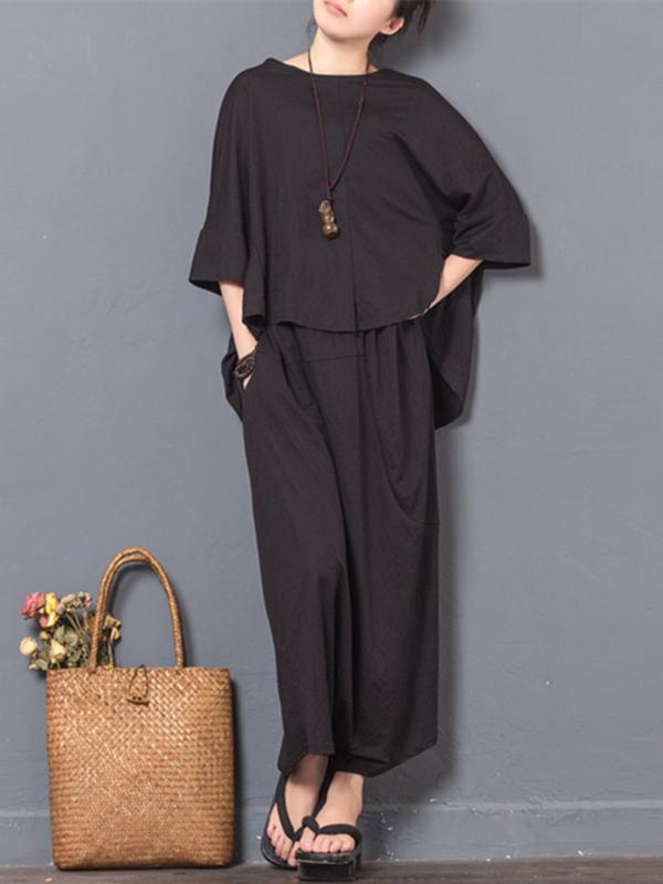 Black Ramie Cotton T-shirt and Pants Suits