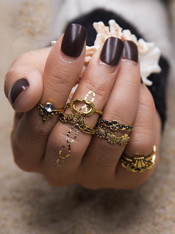 7pcs Fashion Vintage Hollow Rings Accessories