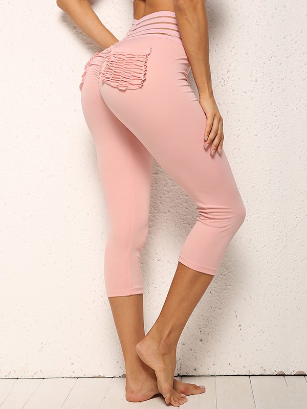 Hollow Back Pocket Yoga Leggings