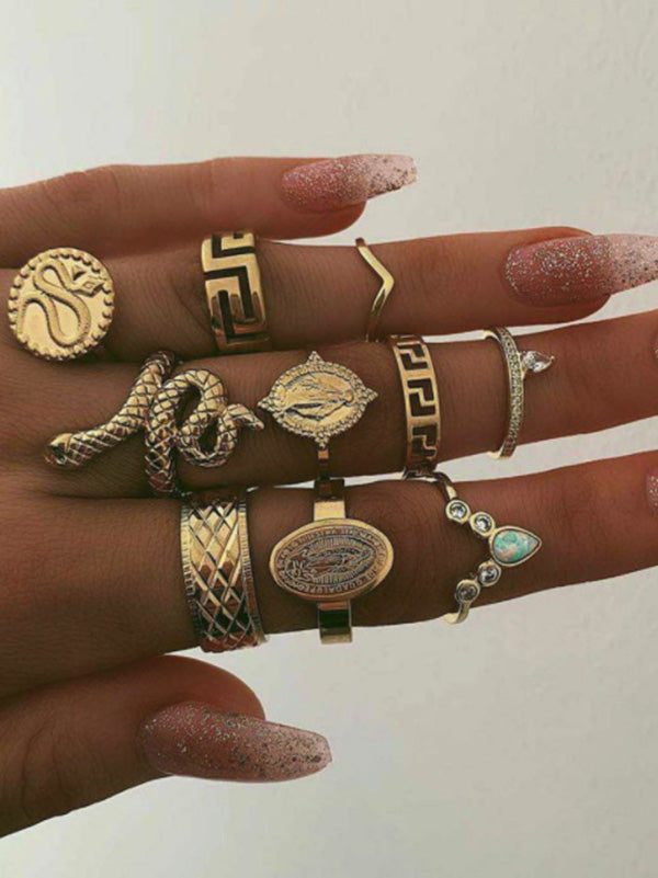 10pieces Creative Retro Character Ring Accessories