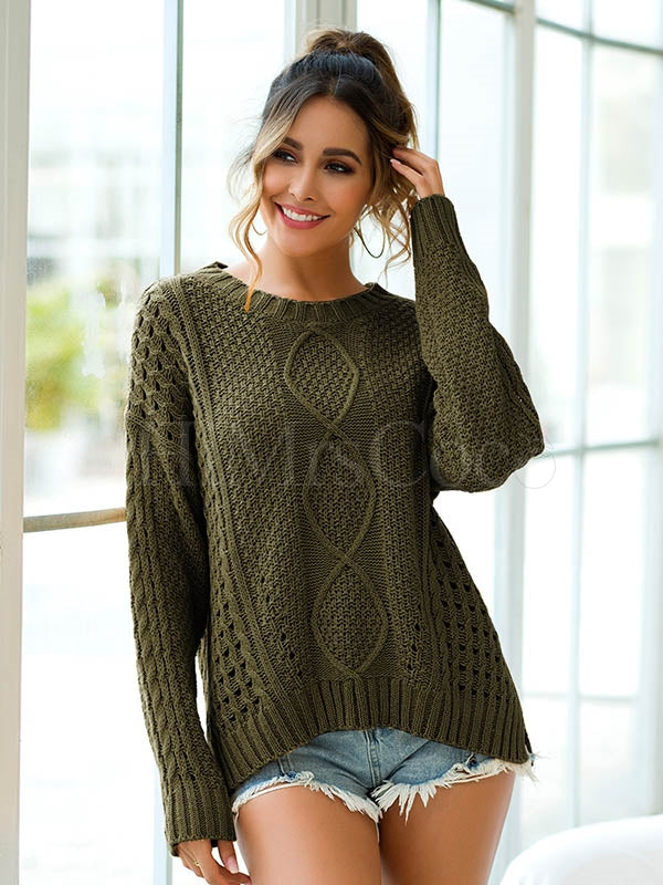 Loose Diamond Striped Hollow Knit Sweater