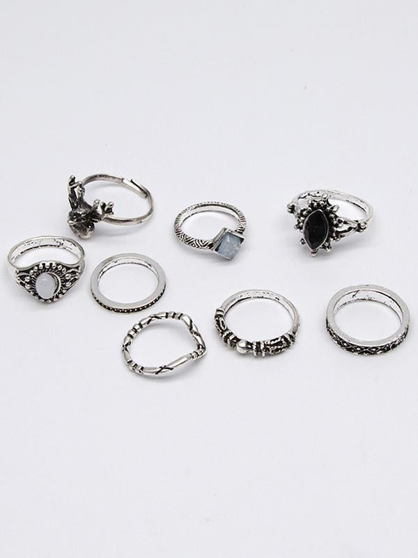 2 Styles Bohemian Vintage Silver Plated Rings Accessories