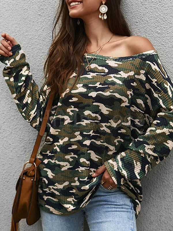 Casual Camouflage Long Sleeves Blouses&Shirts Tops