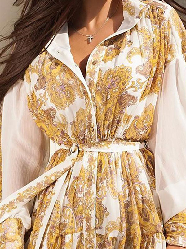 Puff Sleeve Printed Vintage Mini Dress