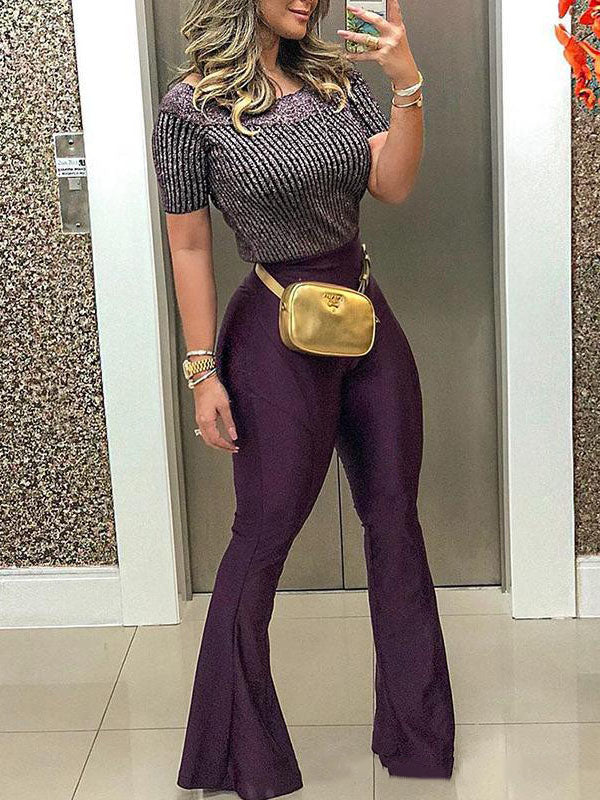 Fashion Purple Bell-bottoms Casual Pants