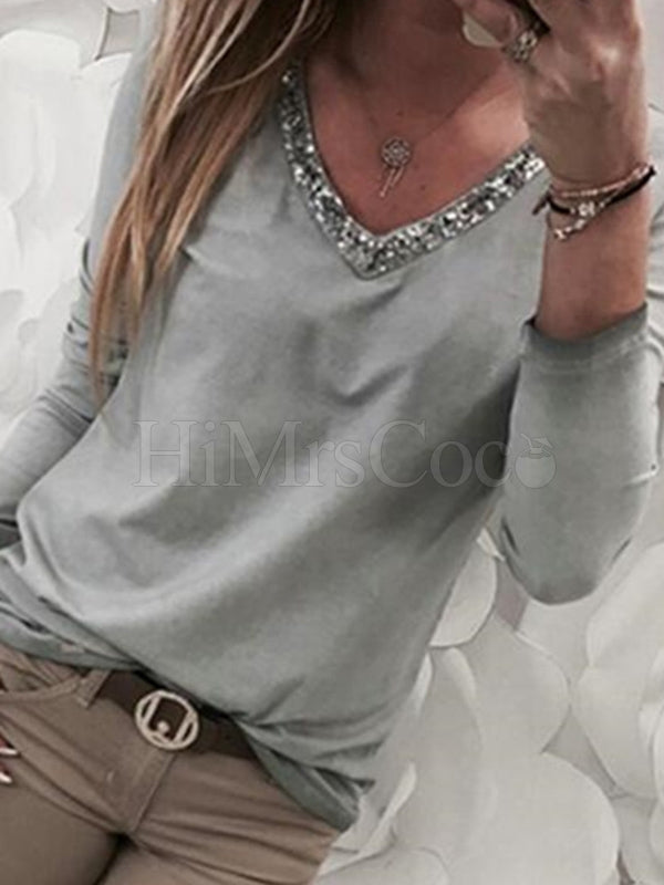 Plain Long-sleeved V-neck Sequins T-shirt