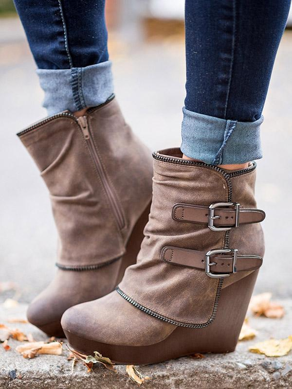 Vintage Hollow Buckle Wedge Heel Booties