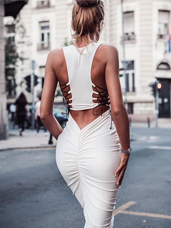 Sexy 2 Colors Bandage Bodycon Midi Dress