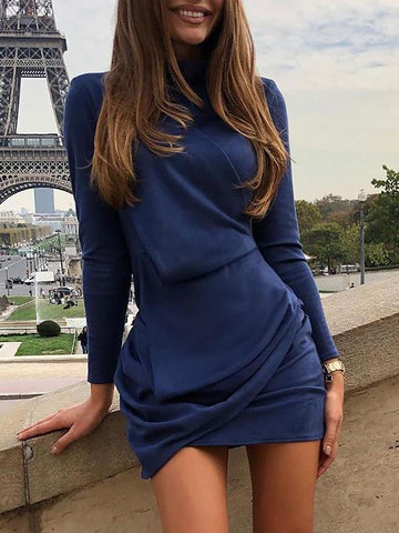 Sexy Long Sleeves Denim Off-the-shoulder Mini Dress