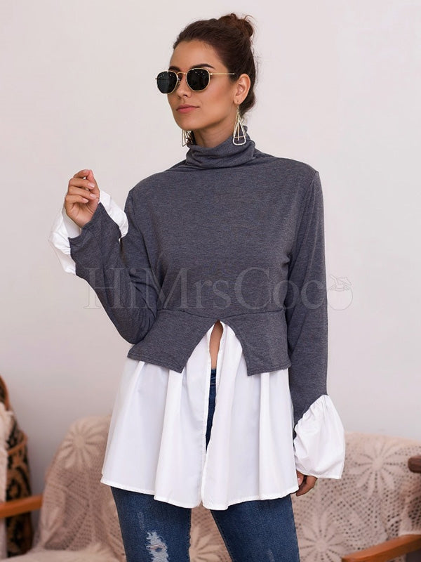 Irregular Ruffled Stitching Turtleneck Shirt