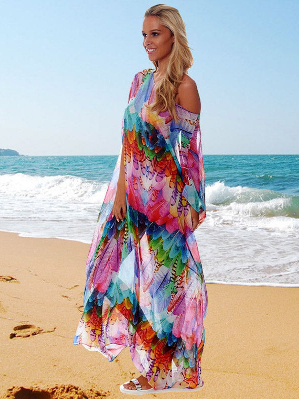 Colorful Feather Beach Long Bikini Cover-Ups