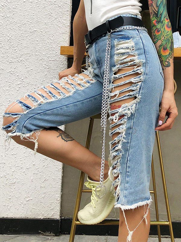 New Fashion Shredded Jeans