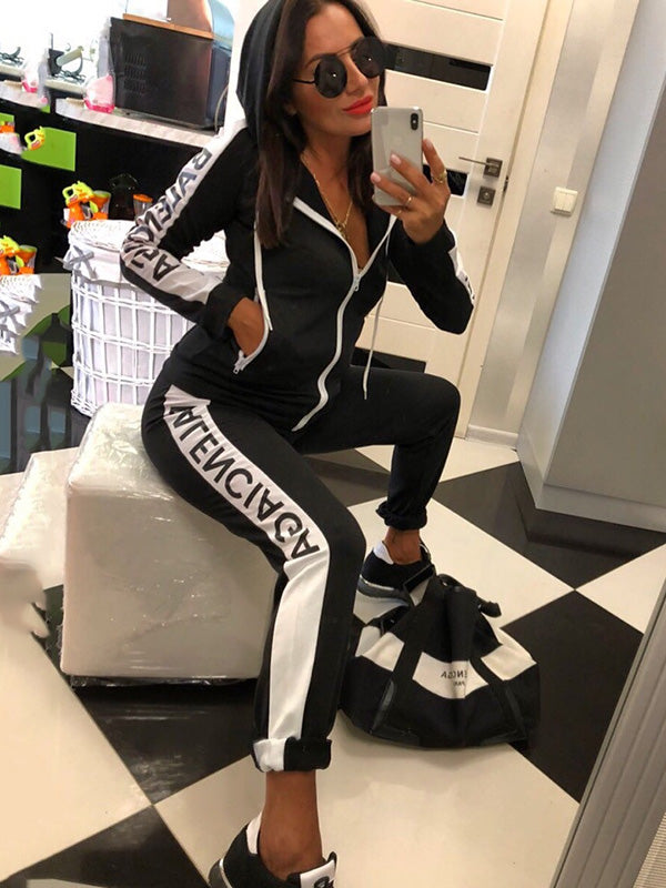 Split-joint Straight Leg Cardigan Top Sports Suits