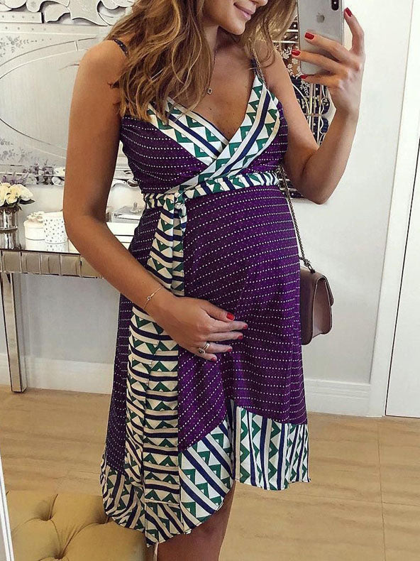 Maternity Printed Spaghetti-neck Mini Dress