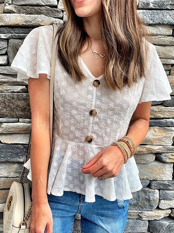 Embroidered V-neck Ruffled Hem Short Blouses