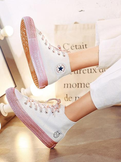 Casual High Top Canvas Flat Sneakers