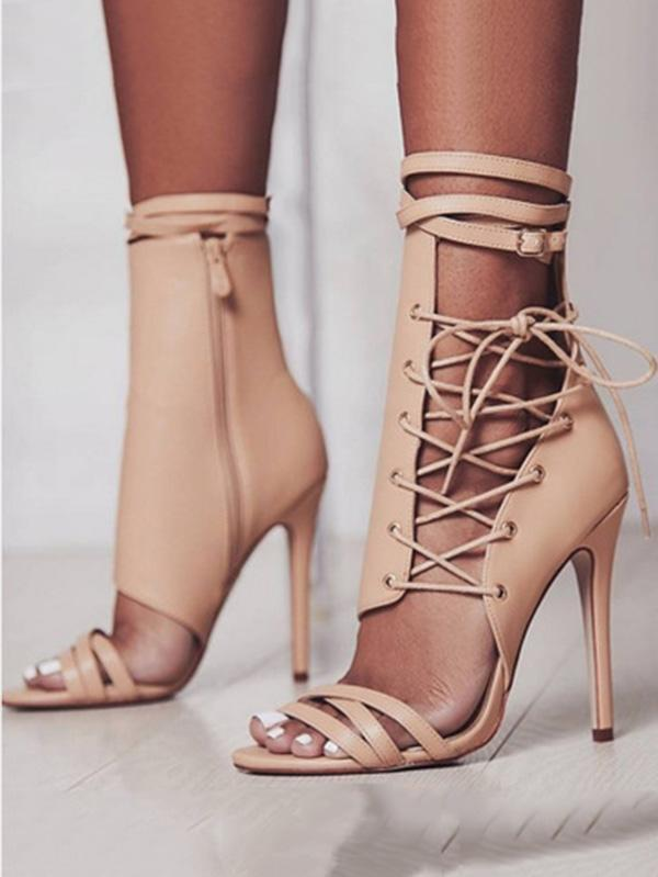 Sexy Bandage Zipper High Heels