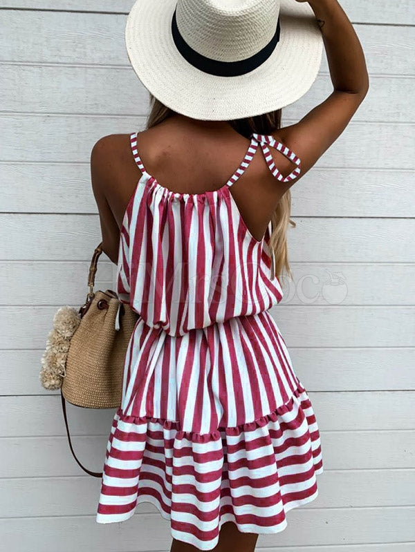 Fresh Bandage Striped Sleeveless Mini Dress