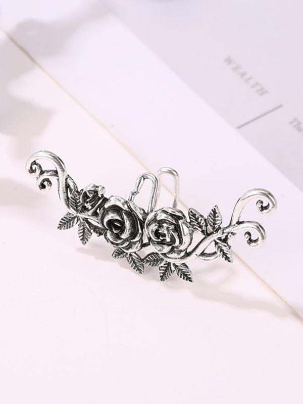Vintage Metal Rose Geometric Ear Bone Clip