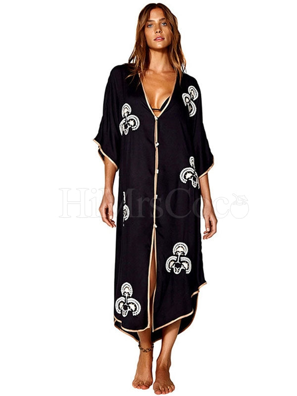 Deep V-Neck Single Breasted Embroidered Cover-Up